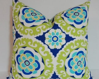 FALL is COMING SALE Outdoor Deck Patio Pillow Blue Green Medallion Outdoor Pillow Cover 18x18 16x16 20x20
