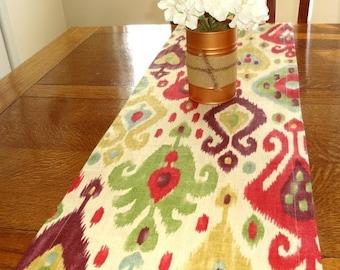 FALL is COMING SALE Richloom Django Jubile Ikat Design Pink Gold Purple Green Blue Table Runner Dining Room Decor 12x72