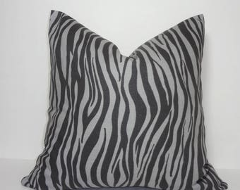 Charcoal & Grey Zebra Animal Print Stripe Pillow Cover Home Decor by HomeLiving Size 18x18