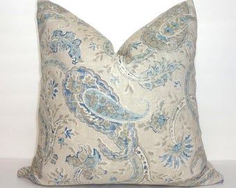 Taupe Beige Blue Paisley Pillow Cover Home Decor by HomeLiving Size 18x18