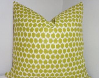 SPRING FORWARD SALE Decorator Pillow Throw Pillow Cover Waverly Seeing Spots Wasabi Lime Ikat Dots Green Ikat Choose Size