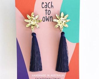 Flora Tassel Drop - Gold/Silver Glitter and Navy Blue Tassel - Laser Cut Acrylic Flower Drop Earrings - Each To Own Original