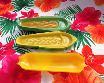 Vintage Corn on the Cob Holders Dishes - Set of 13 Assorted Plastic Yellow Green Corn Plates - Picnic BBQ - Corn on the Cobb Serving