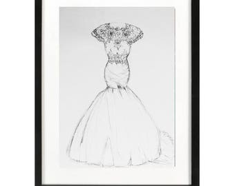 Wedding dress illustration, Custom Wedding dress sketch, bridal gown, First Year Paper Anniversary gift, just email me photos of the dress