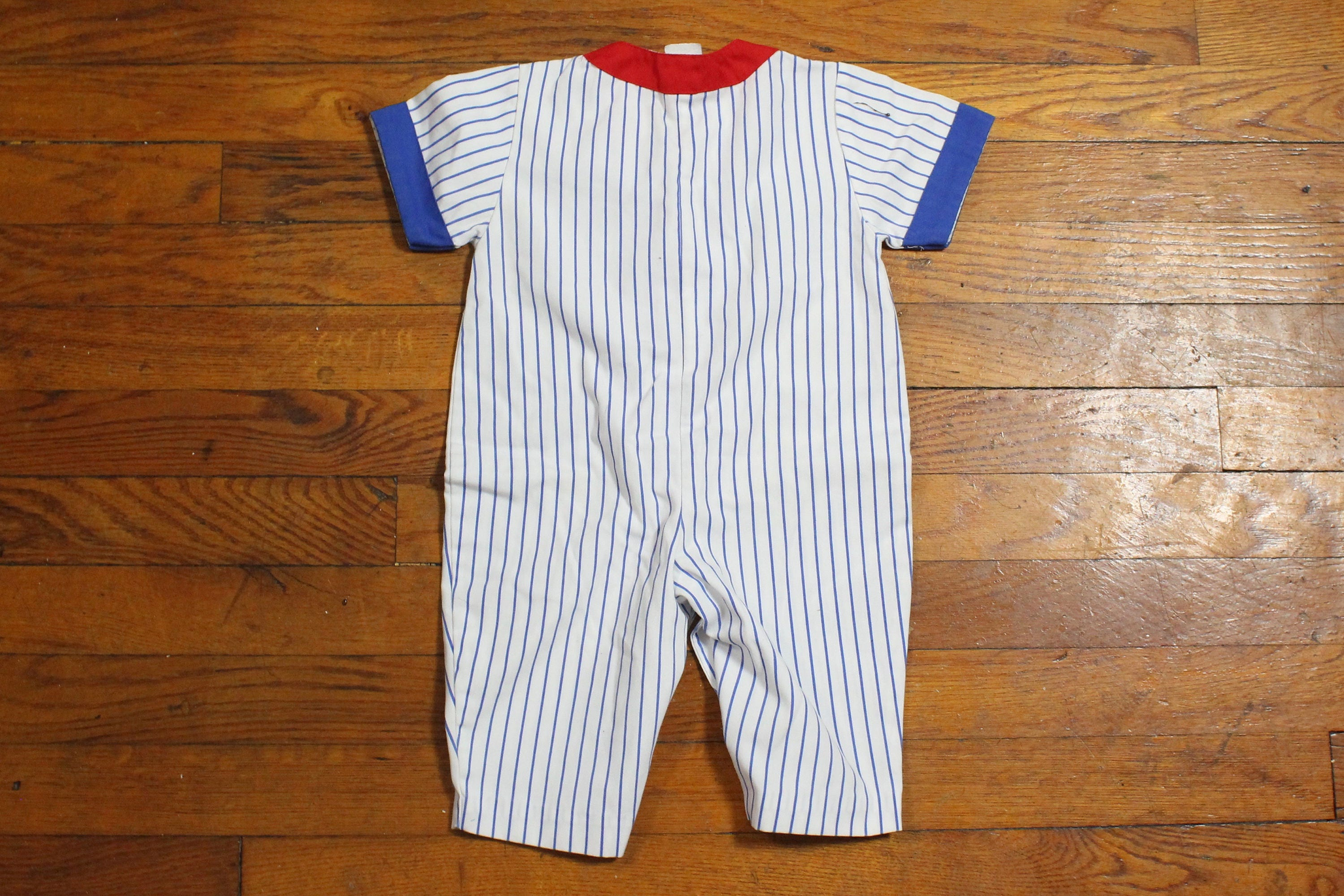 Vintage Baby Boy Jumper White Blue Pin Striped Baseball Theme