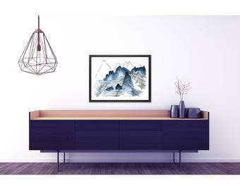 Mountain Landscape print. Large abstract print. Modern Art print. Abstract Mountains. Modern home decor. Large poster. Living room wall art