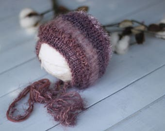 new born knitted bonnet,purple knitted bonnet ,photo prop