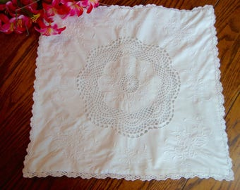 White Pillow Cover White Embroidery and Crochet Lace Trim Vintage Pillow Sham