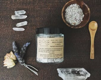 CLEANSING GRAINS, wild flower + oats, natural vegan face wash, soap free cleanser