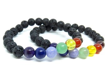 PRE-ORDER - One Chakra Stretch Bracelet - Lava and Gemstone Beads