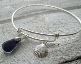 Rare Sea Glass Sterling Silver Bangle Bracelet, Wishing for the beach bangle, adjustable bangle, silver shells