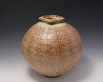 Wheel Thrown Stoneware Vase with Pressed Texture by Hsinchuen Lin 林新春