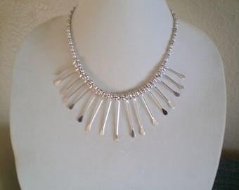 Silver Dangles Bib Necklace
