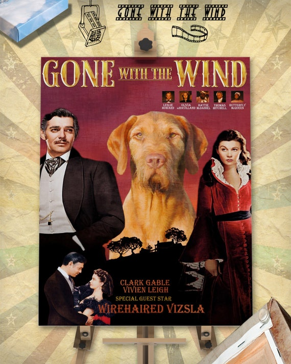 Wirehaired Vizsla Dog Movie Art Poster Gone with the Wind Dog Painting Poster Custom Dog Portrait from Photo