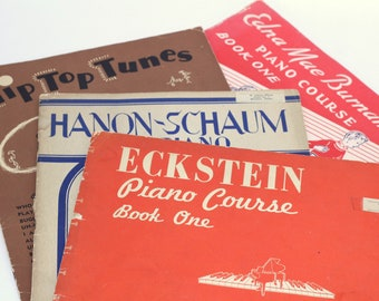 4 Piano Music Books   Piano Courses for Beginners   40's-50's Music Books Learning Play Piano   Piano Practice Booklets   Piano Instruction