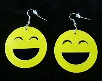 SMILEY FACE Earrings Pierced Dangle Bright Cutest Ever