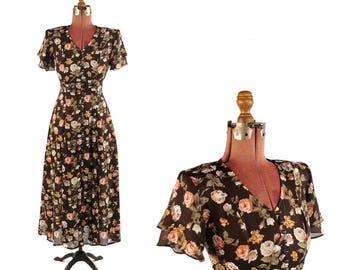 Vintage 1990's Sheer Brown + Rose Floral Chiffon Print Full Button Down Grunge Tea Length Dress S