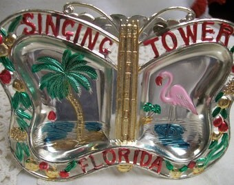 "Vintage Metal Ashtray Souvenir of Florida ""Singing Tower"" Circa 1950s Hand Painted Metal Made in Japan Palm Tree Flamingo"