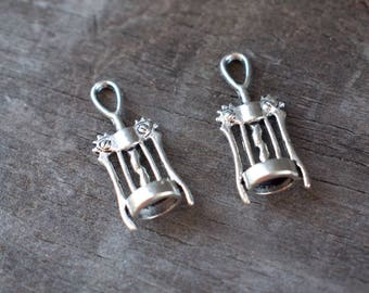 8 Silver Corkscrew Charms 30mm