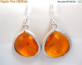 SALE Orange Earrings, Silver Earrings, Silver Orange Earrings, Tangerine Earrings, Bridesmaid Earrings, Bridal Earrings Jewelry, Bridesmaid