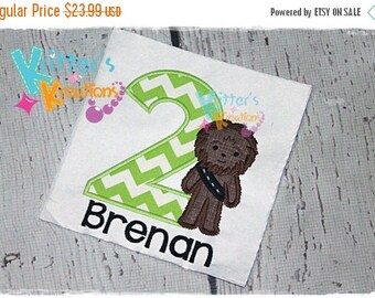 SALE Birthday - Star Wars - Chewbacca Inspired Embroidered Applique Shirt