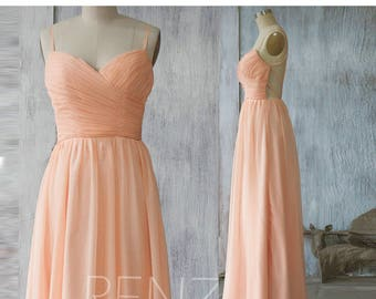 Bright Peach Bridesmaid Dress, Criss Cross Wedding Dress, Sweetheart Party Dress, Formal Dress, Long Backless Maxi Dress Floor Length (F128)