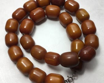 Antique Butterscotch Amber Bakelite Faturan Necklace 162 Grams Tested Barrel Beads 24 Inches