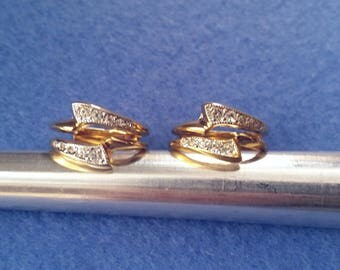 Vintage Esposito Espo Faux Diamond Gold Plated Ring Enhancer, Ring Guard Wrap, 18KT HGE, size 7 or size 7.75