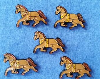 Five Vintage JHB Horse Buttons, Plastic Shank Buttons, brown horse buttons, vintage buttons, animal buttons, equestrian buttons