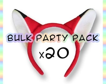 20 Red Fox Ears Headbands - Bulk Party Pack - Birthday Favors - School Play Props & Costumes - Events - Anime Cosplay - Adults Kids