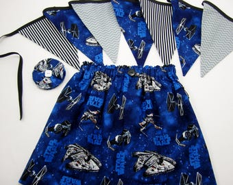 Star Wars Birthday Party - Star Wars Skirt - Star Wars Fabric Banner - Star Wars Fabric Garland - Hair Clip - Party Game - Room Decor