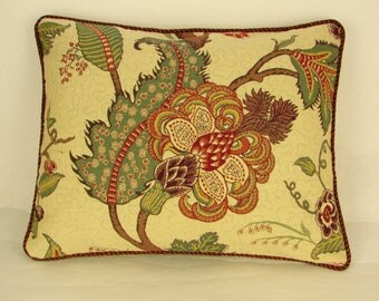 """14"""" x 18"""" Pillow Cover Green Brown Red Cream Cording Trim"""