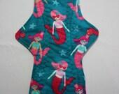 Kiki Mama Cloth Menstrual Pad Overnight 12 in Size Mermaids Star Fish
