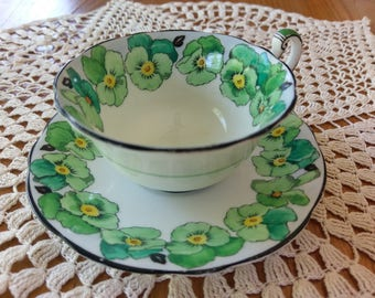 1920 Foley English Bone China Green Pansy Pattern