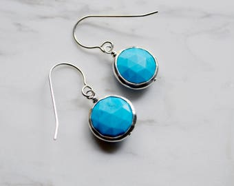 Small Blue Turquoise Earrings, Silver Turquoise Earrings, Small Turquoise Earrings, Bridesmaid Earrings
