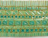 170+ Handmade Mosaic Tile Pieces Ceramic Stoneware Tiles Aqua Crackle, Turquoise  Blue Tones Glazed Craft Tile Assortment #5