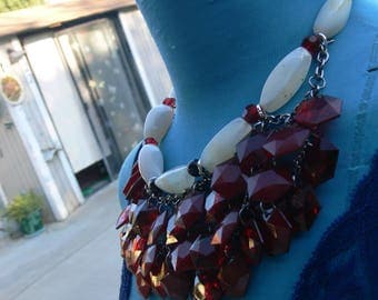 glass beaded red necklacece