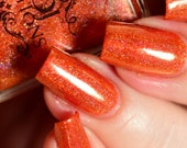 SALE! Now that's a pumpkin!  Limited Edition holographic and color shifting indie nail polish by MDJ Creations