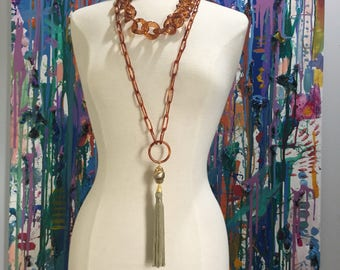 Tortoise Shell Chain necklace , lucite necklace