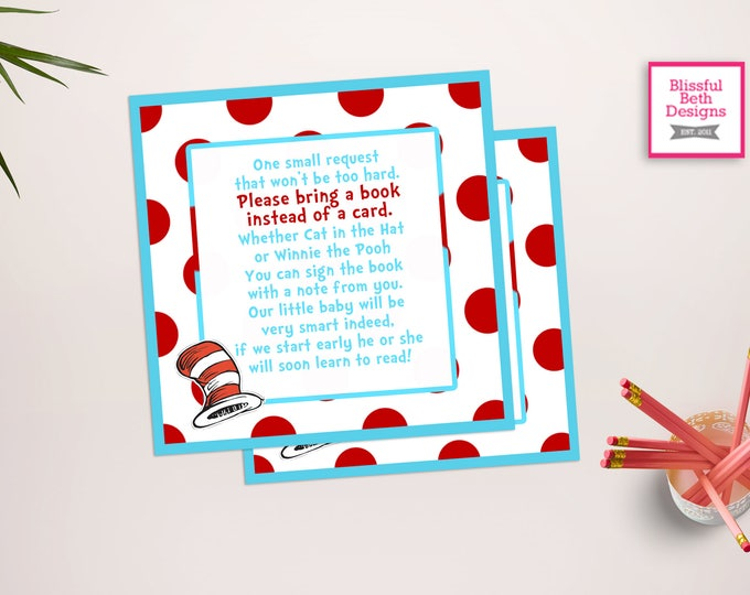 SEUSS BOOK CARD Dr. Seuss Printable Baby Shower Book Card (Red and Blue), Baby Shower Insert, Seuss Book Insert Card, Instant Download