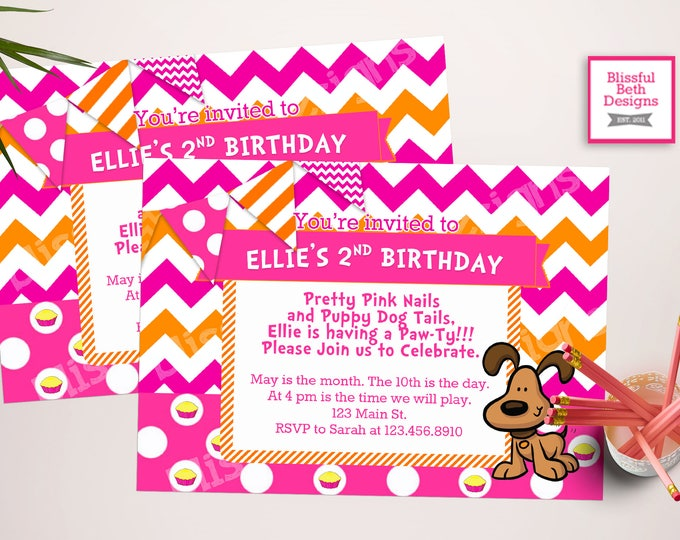 PUPPY BIRTHDAY INVITATION Pink and Orange Printable Birthday Invitation, Chevron Birthday Invite, Pink and Orange Puppy Birthday Invitation