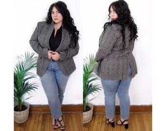 Plus Size Vintage 1980's Grey Wool Blazer - Size XL