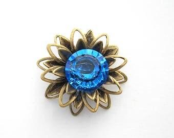 Swarovski Sapphire Rhinestone Pendant or Connector - Antiqued Brass Floral Pendant