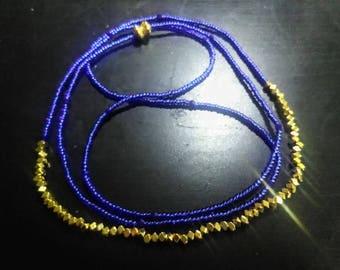 Cobalt blue waist beads, African Waist beads, Waist training,Blue and gold waist beads,body jewelry,