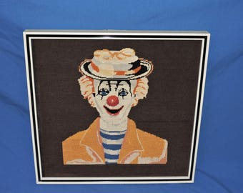 Vintage Clown Needlepoint Picture Framed Dark Brown Happy Hobo Red Nose Mime Hat Blue Striped Shirt Circus