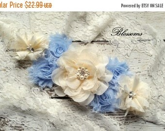 SALE BABY BLUE Ivory Chiffon Flower Maternity Sash Belt - Pregnancy Photo Prop - It's A Boy - Pregnancy Sash  - Blue Cream Sash - Baby Boy