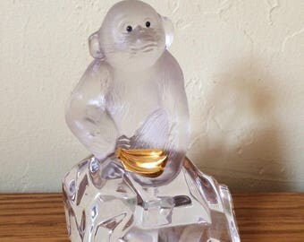 Vintage Faberge Crystal Glass Monkey / Chimpanzee Figurine, Glass Paperweight, France Signed Igor Carl Faberge Franklin Mint