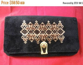 On Sale Black High End Collectible Clutch Purse - 1960's Fine Calfskin Made In Italy Handbag - Designer Signed Velvet Style Bag