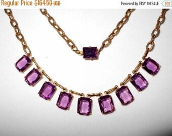 Now On Sale Beautiful Purple Glass Art Deco Necklace ** 1920's 1930's Antique Rhinestone Jewelry