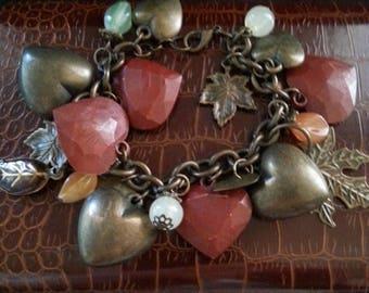 Now On Sale Vintage Rustic Heart Charm Bracelet